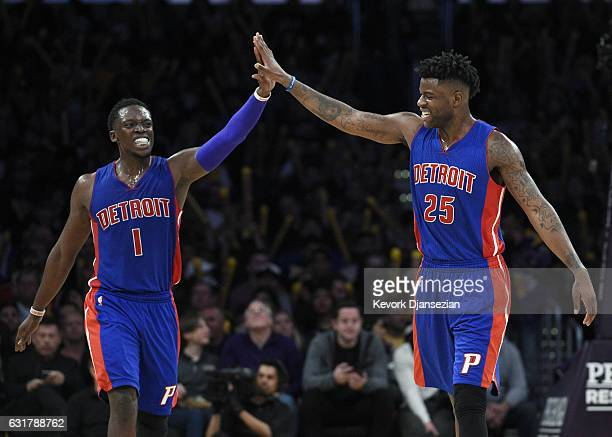 Reggie Jackson of the Detroit Pistons is congratulated by teammate Reggie Bullock during the second half of the basketball game against Los Angeles...