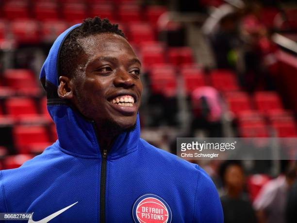 Reggie Jackson of the Detroit Pistons looks on before the game against the Minnesota Timberwolves on October 25 2017 at Little Caesars Arena in...