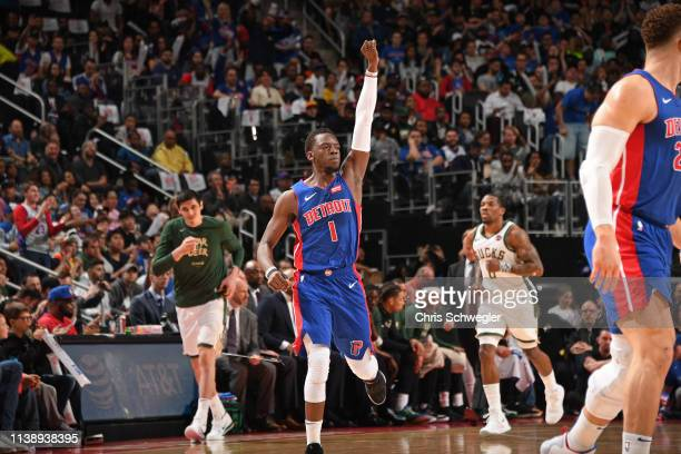 Reggie Jackson of the Detroit Pistons reacts to a play against the Milwaukee Bucks during Game Four of Round One of the 2019 NBA Playoffs on April 22...