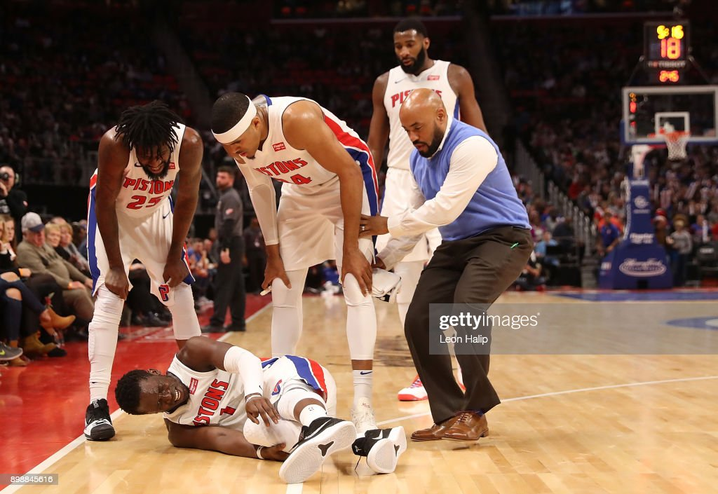 Reggie Jackson #1 of the Detroit Pistons reacts to a third quarter injury during the game against the Indiana Pacers at Little Caesars Arena on December 26, 2017 in Detroit, Michigan.