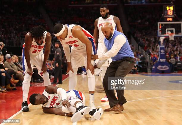Reggie Jackson of the Detroit Pistons reacts to a third quarter injury during the game against the Indiana Pacers at Little Caesars Arena on December...