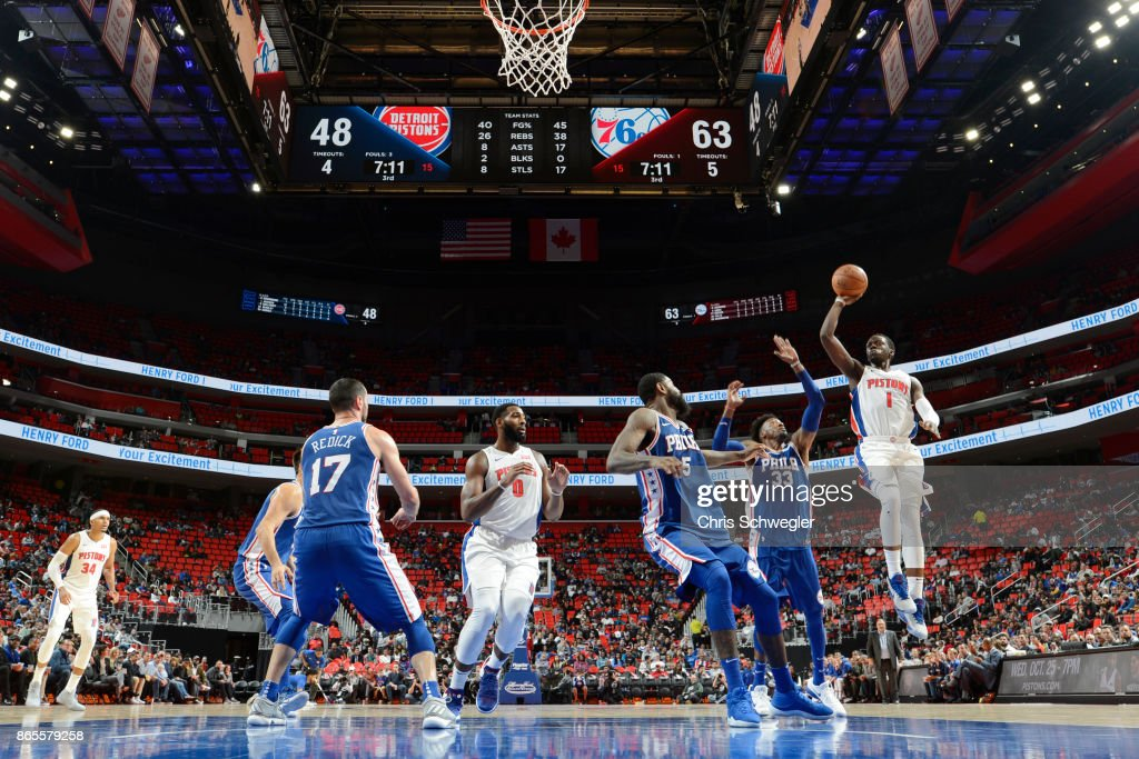 Reggie Jackson #1 of the Detroit Pistons shoots against the Philadelphia 76ers on October 23, 2017 at Little Caesars Arena in Detroit, Michigan.
