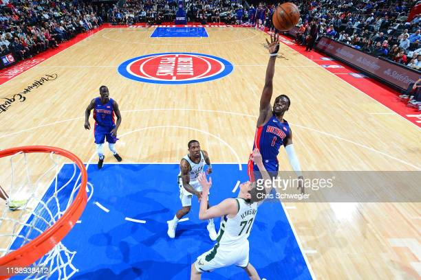 Reggie Jackson of the Detroit Pistons shoots the ball against the Milwaukee Bucks during Game Four of Round One of the 2019 NBA Playoffs on April 22...