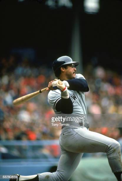 Reggie Jackson of the New York Yankees bats during a 1977 season MLB game