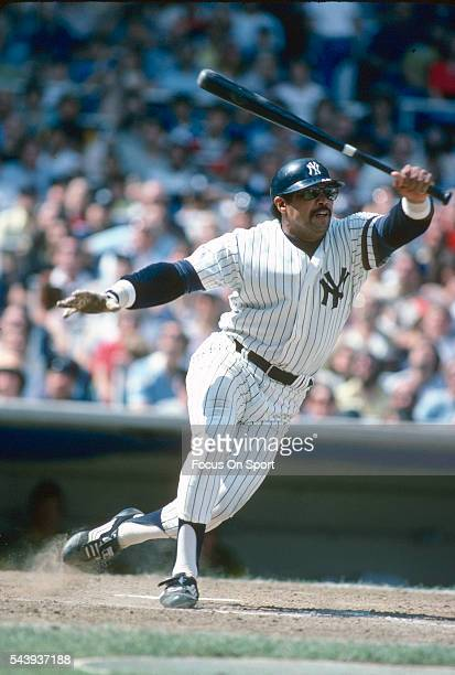 Reggie Jackson of the New York Yankees bats during an Major League baseball game circa 1980 at Yankee Stadium in the Bronx borough of New York City...