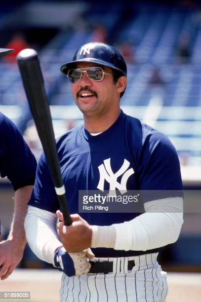 Reggie Jackson of the New York Yankees grips his bat during batting practice prior to a game circa 19771981