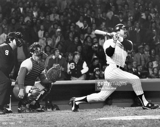 Reggie Jackson of the New York Yankees hits his third consecutive home run of the game against the Los Angeles Dodgers in the eight inning of Game...