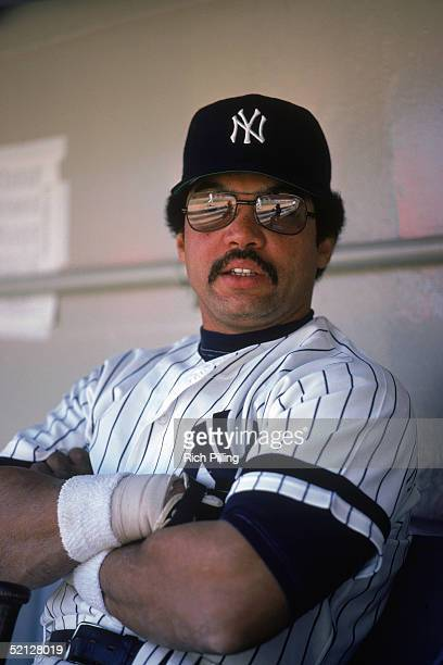 Reggie Jackson of the New York Yankees poses for a portrait in the dugout Reginald Martinez Jackson for the Yankees from 197781