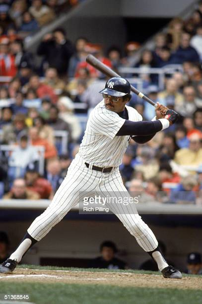 Reggie Jackson of the New York Yankees stands ready at the plate during a game in 1978 at Yankee Stadium in Bronx New York
