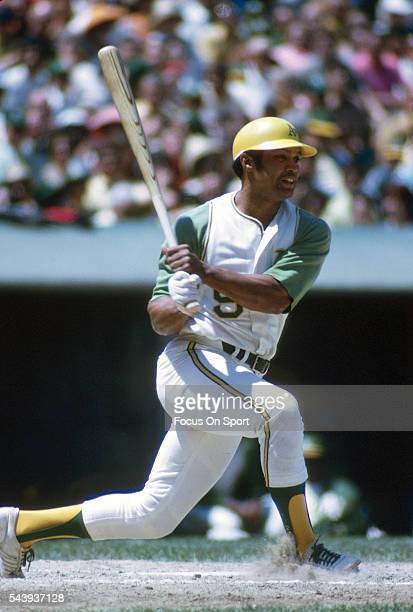 Reggie Jackson of the Oakland Athletics bats during an Major League Baseball game circa 1970 at OaklandAlameda County Coliseum in Oakland California...