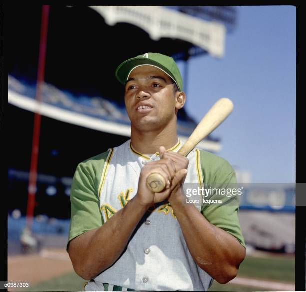 Reggie Jackson of the Oakland Athletics poses for a portrait at Yankee Stadium in Bronx New York in 1968
