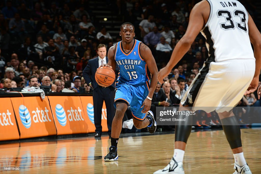 Reggie Jackson #15 of the Oklahoma City Thunder brings the ball up court against the San Antonio Spurs on March 11, 2013 at the AT&T Center in San Antonio, Texas.