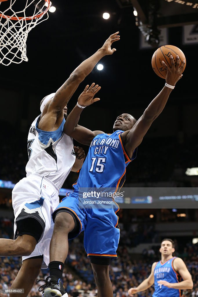 Reggie Jackson #15 of the Oklahoma City Thunder drives to the basket against the Minnesota Timberwolves on March 29, 2013 at Target Center in Minneapolis, Minnesota.