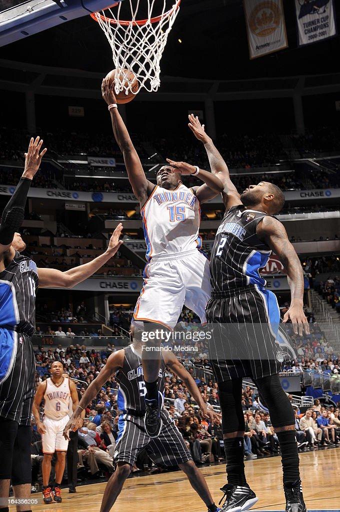Reggie Jackson 15 Of The Oklahoma City Thunder Goes Up For Layup Against Kyle