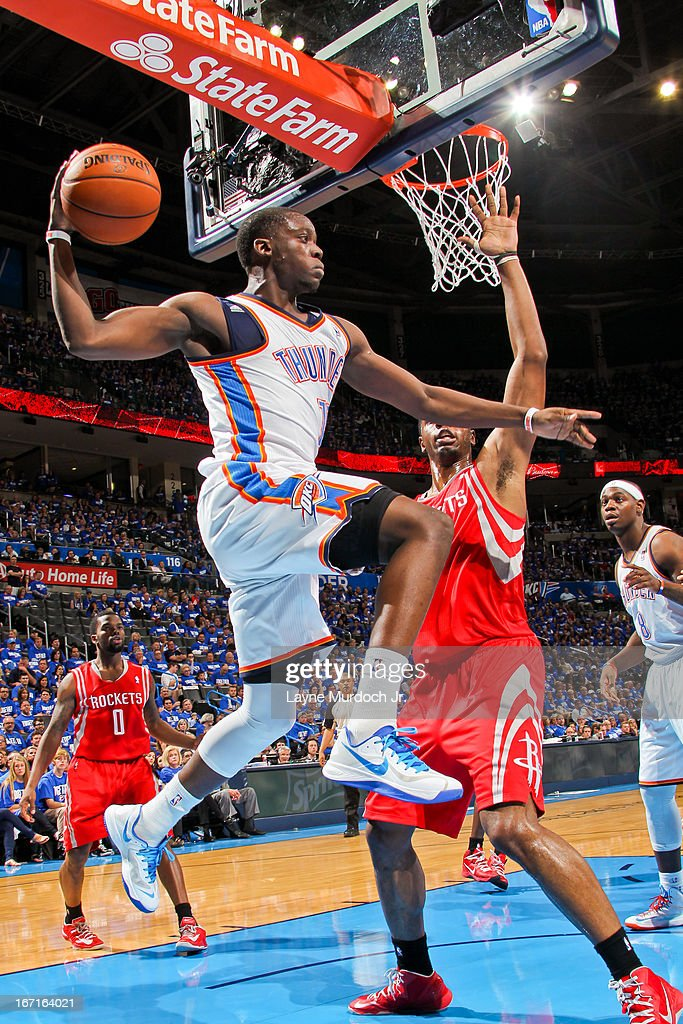 Reggie Jackson #15 of the Oklahoma City Thunder looks to pass the ball under the basket against the Houston Rockets in Game One of the Western Conference Quarterfinals during the 2013 NBA playoffs on April 21, 2013 at the Chesapeake Energy Arena in Oklahoma City, Oklahoma.