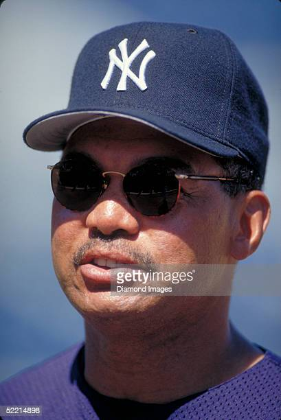 Reggie Jackson Spring Training instructor for the New York Yankees during pregame activities prior to a 1997 spring training game at Legends Field in...