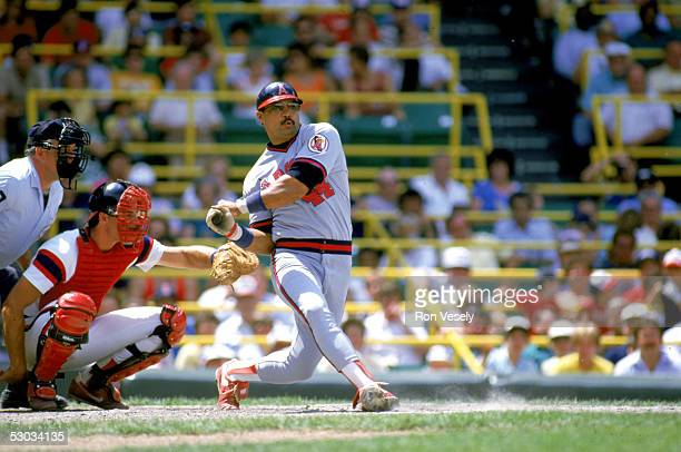 Reggie Jackson swings at the pitch during a season game circa 1982 Reggie Jackson played for the California Angels from 19821986
