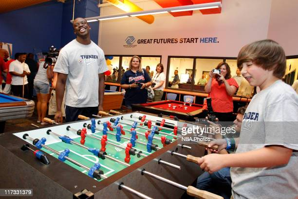 Reggie Jackson the Oklahoma City Thunder first round draft pick plays some of the new games at the Boys Girls Club of Oklahoma County on June 25 2011...