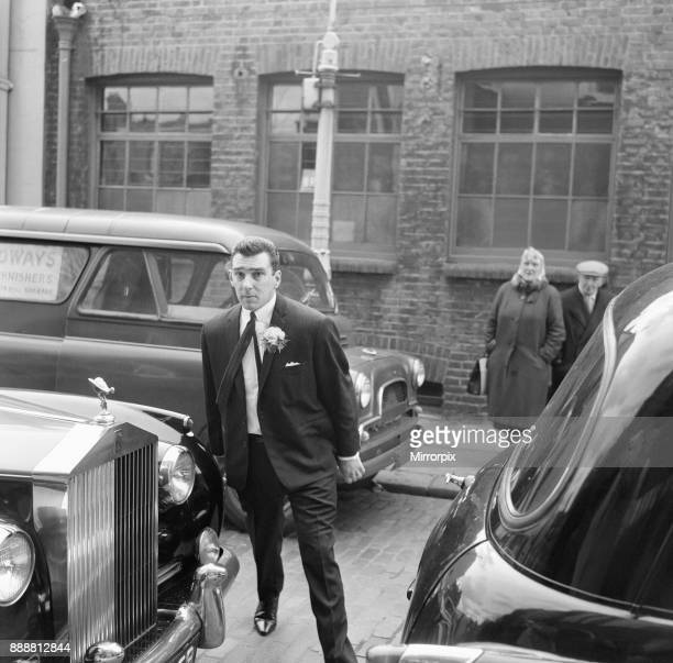 Reggie Kray outside his wedding venue at St Paul's Church London 19th April 1965