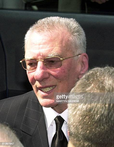Reggie Kray who was released from his prison cell arrives at the church to attend the funeral of his elder brother Charlie Kray 19 April 2000 at...