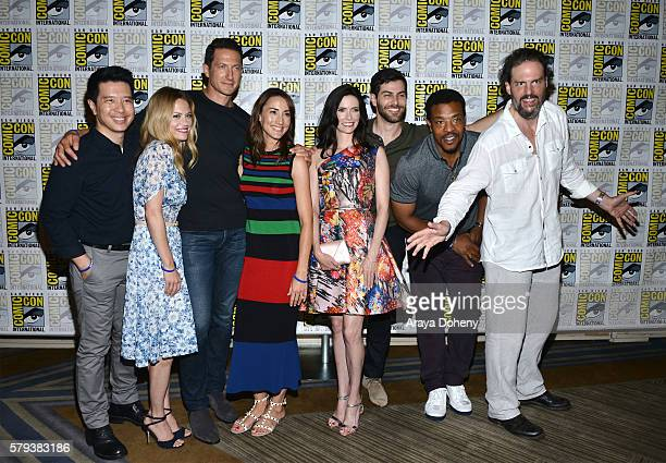 Reggie Lee Claire Coffee Sasha Roiz Bree Turner Bitsie Tulloch David Giuntoli Russell Hornsby and Silas Weir Mitchell attend the Grimm press line at...