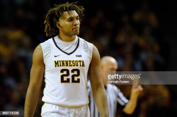 Reggie Lynch of the Minnesota Golden Gophers looks on during the game against the USC Upstate Spartans on November 10 2017 at Williams Arena in...