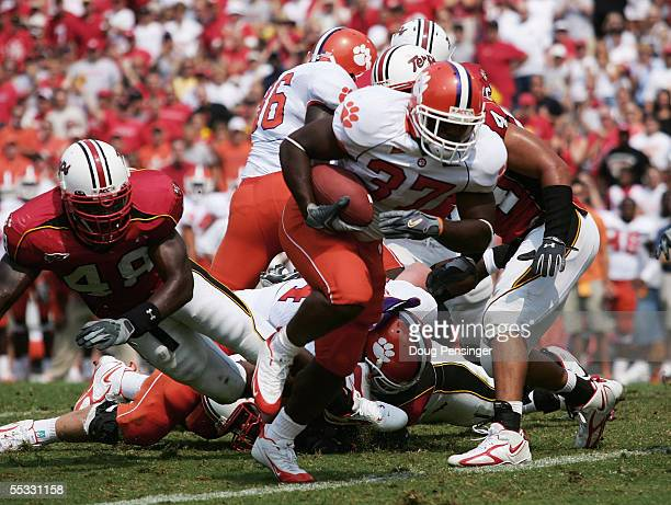 Reggie Merriweather of the Clemson Tigers steps into the endzone for a first quarter touchdown on fourth down on the one yard line against the...