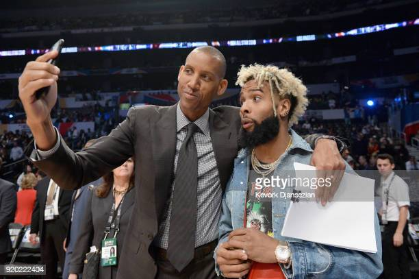 Reggie Miller and Odell Beckham Jr attend the NBA AllStar Game 2018 at Staples Center on February 18 2018 in Los Angeles California