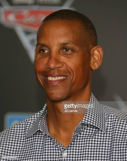 Reggie Miller and Ryker Miller attend the premiere of Disney and Pixar's 'Cars 3' on June 10 2017 in Anaheim California