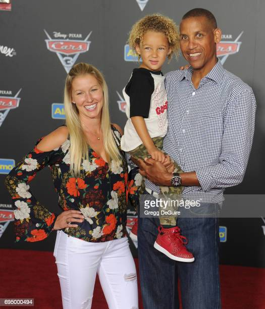 Reggie Miller and son Ryker Miller arrive at the premiere of Disney And Pixar's Cars 3 at Anaheim Convention Center on June 10 2017 in Anaheim...