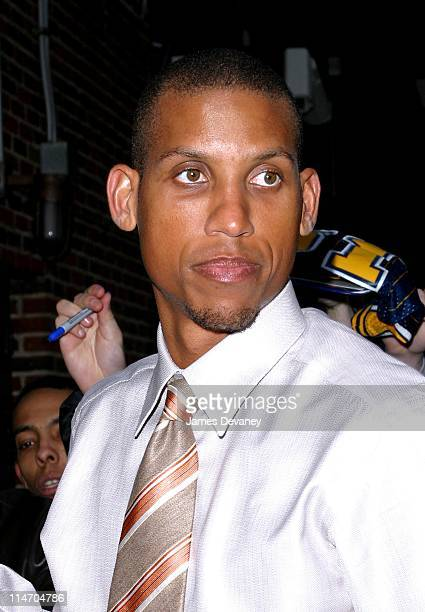 Reggie Miller during Kevin Spacey and Reggie Miller Visit the 'Late Show with David Letterman' February 19 2003 at Ed Sullivan Theatre in New York...