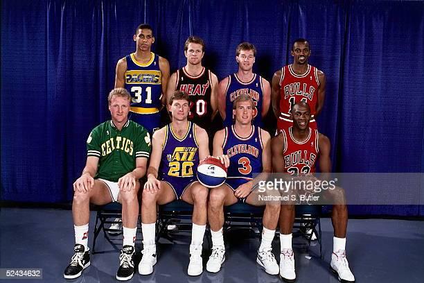 Reggie Miller Jon Sundvold Mark Price Craig Hodges Larry Bird Bobby Hansen Craig Ehlo and Michael Jordan Eastern Conference AllStars pose for a group...