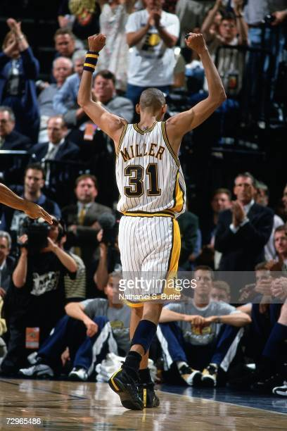 Reggie Miller of the Indiana Pacers displays emotion against the Los Angeles Lakers during Game Five of the 2000 NBA Finals on June 16 2000 at...