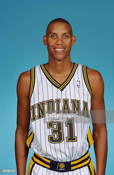 Reggie Miller of the Indiana Pacers poses for a portrait during NBA Media Day at Conseco Fieldhouse on October 2 2003 in Indianapolis Indiana NOTE TO...