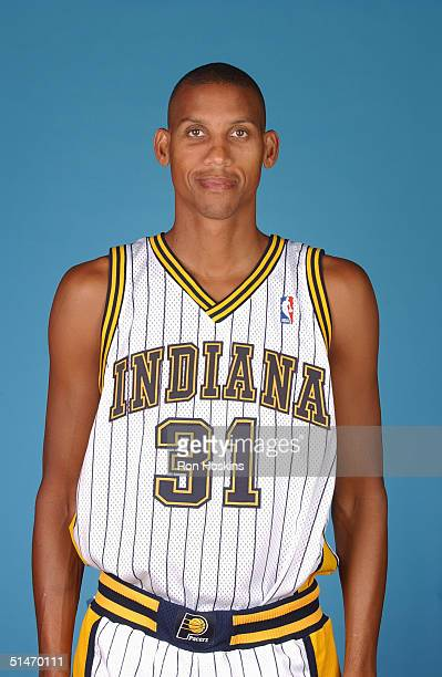 Reggie Miller of the Indiana Pacers poses for a portrait during NBA Media Day on October 4 2004 in Indianapolis Indiana NOTE TO USER User expressly...