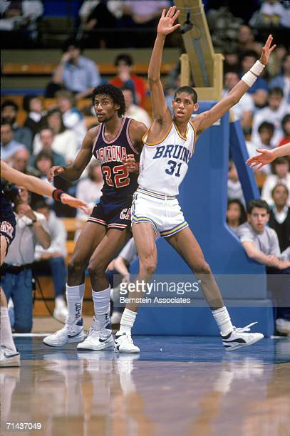 Reggie Miller of the UCLA Bruins moves into position during a 1985 season game against Arizona.