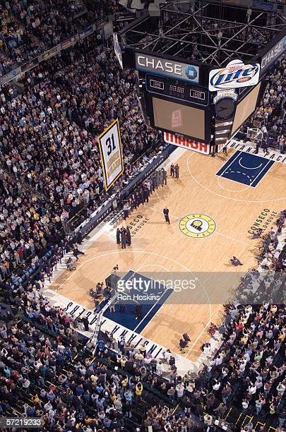 Reggie Miller watches his lifted to the rafters as his number is retired on March 30 2006 at Conseco Fieldhouse in Indianapolis Indiana NOTE TO USER...