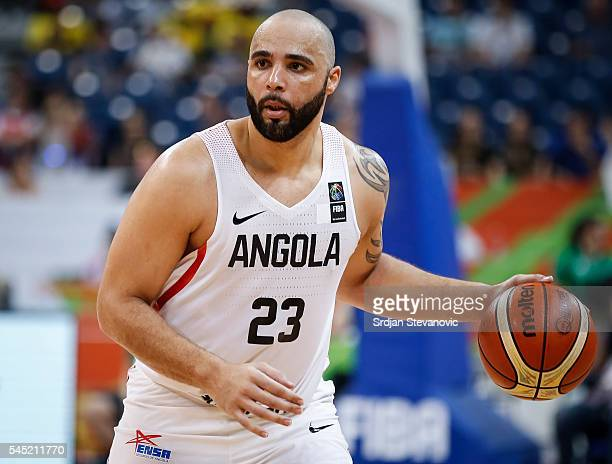 Reggie Moore of Angola in action during the 2016 FIBA World Olympic Qualifying basketball Group A match between Angola and Serbia at Kombank Arena on...