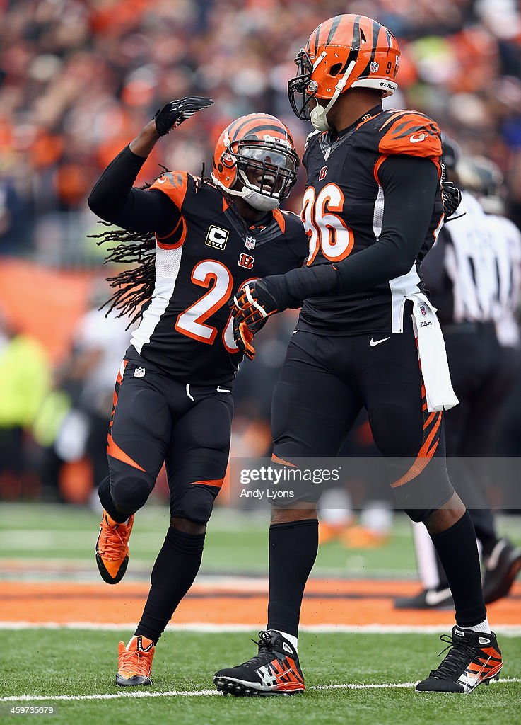Reggie Nelson #20 of the Cincinnati Bengals celebrates with Carlos Dunlap #96 during the 34-17 win over the Baltimore Ravens at Paul Brown Stadium on December 29, 2013 in Cincinnati, Ohio.