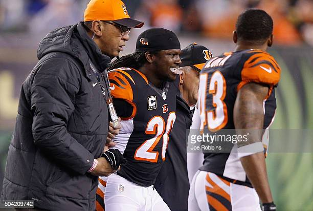 Reggie Nelson of the Cincinnati Bengals is helped off the field by training staff in the first half against the Pittsburgh Steelers during the AFC...