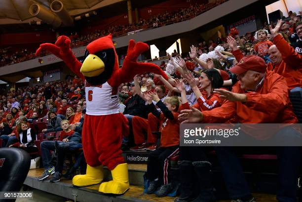 Reggie Redbird cheers with a group of fans during the Missouri Valley Conference college basketball game between the Indiana State Sycamores and the...