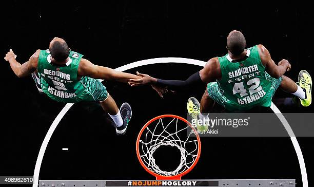 Reggie Redding, #5 of Darussafaka Dogus Istanbul and Marcus Slaughter, #42 of Darussafaka Dogus Istanbul in action during the Turkish Airlines...