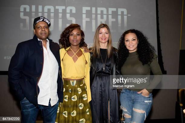 Reggie Rock Bythewood DeWanda Wise Jill Hennessy and Egypt Sherrod attend the 2017 Black Women Film Summit opening night screening of 'Shots Fired'...