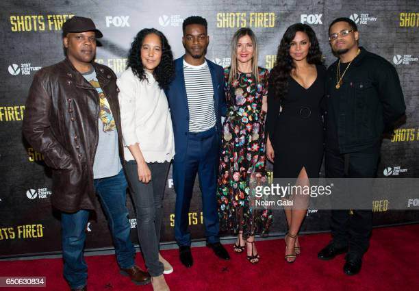Reggie Rock Bythewood Gina PrinceBythewood Stephen James Jill Hennessy Sanaa Lathan and Mack Wilds attend the 'Shots Fired' New York special...