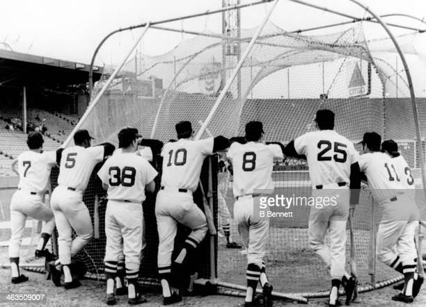 Reggie Smith George Scott Jerry Moses Carl Yastrzemski Tony Conigliaro and Dick Schofield of the Boston Red Sox watch batting practice before their...