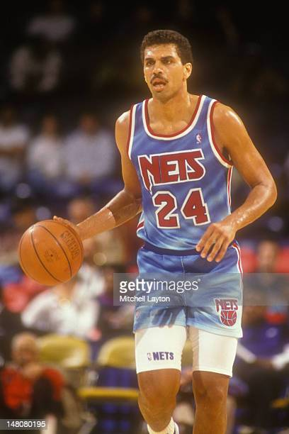 Reggie Theus of the New Jersey Nets looks on during basketball game against the Washington Bullets at Capital Centre on February 7 1991 in Landover...