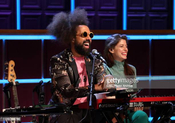 Reggie Watts and Hagar Ben Ari chat with James on THE LATE LATE SHOW WITH JAMES CORDEN scheduled to air Wednesday July 31 2019 on the CBS Television...