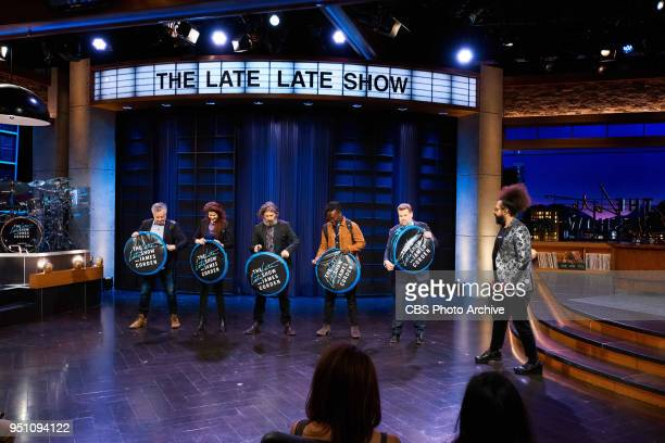 Reggie Watts and Karen the Late Late Show band with members Steve Scalfati Tim Young Hagar Ben Ari and Guillermo Brown perform in the sketch...