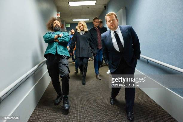 Reggie Watts and Meghan Trainor walk to stage with James Corden during 'The Late Late Show with James Corden' Wednesday February 7 2018 On The CBS...