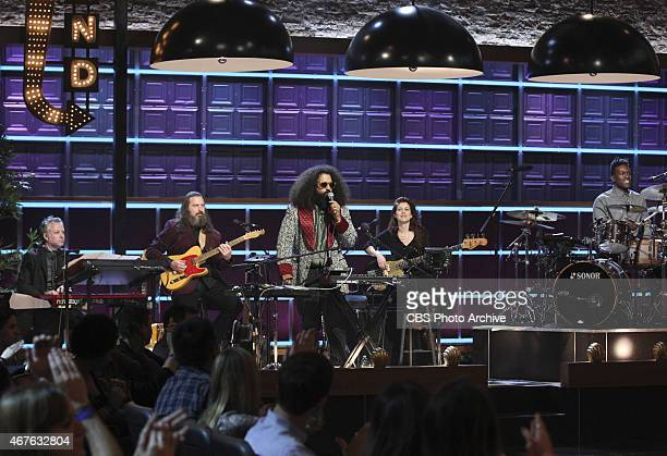 Reggie Watts and the house band Tim Young Guillermo Brown Hagar Ben Ari and Steve Scalfati perform on The Late Late Show with James Corden Tuesday...